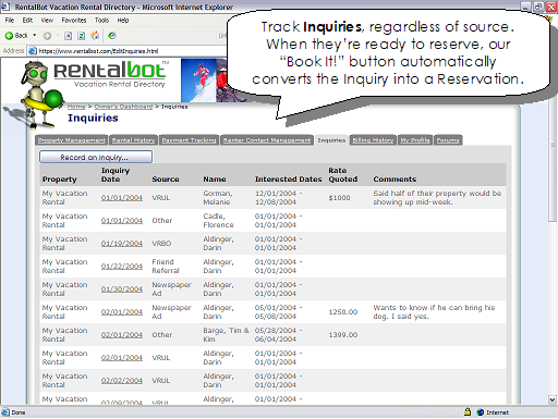 Track Inquiries, regardless of source.  When they're ready to reserve, our