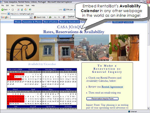 Embed RentalBot's Availability Calendar in any other webpage in the world as an inline image!