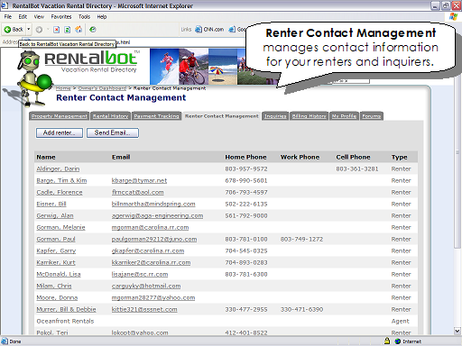 Renter Contact Management manages contact information for your renters and inquirers.